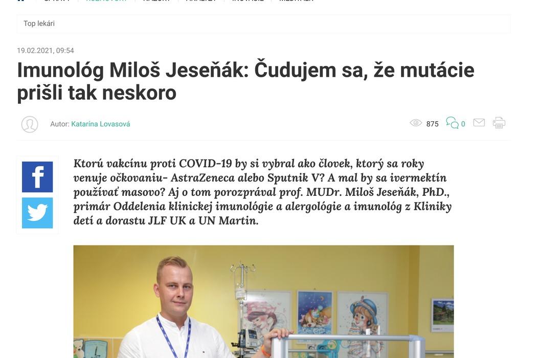 Imunológ Miloš Jeseňák: Čudujem sa, že mutácie prišli tak neskoro - obrázok